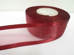 Burgundy satin edged organza ribbon, 2 or 25 metres, Double sided, 10mm, 15mm, 25mm, 40mm, 70mm